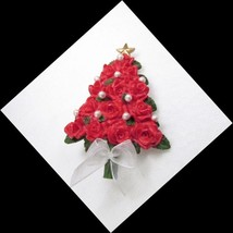 Vintage Red Roses Christmas Tree Pin Faux Pearls Resin Bow Poinsettia - $5.74