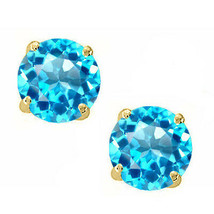0.40 CT 3mm 14K Solid Yellow Gold Blue Topaz Round Shape Push Back Stud ... - $27.28