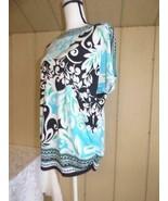 $54.50 JM Collection Embellished Printed Boat Neckline Top, Aqua Island ... - $21.43