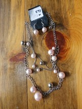 Paparazzi Long Necklace & Earring Set(New)Silver W/ Pink Pearls 593 - $7.69