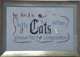 Hooked On Cats charms + cross stitch chart Handblessings - $10.80