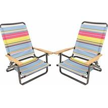 x2 Folding Beach Chair Camping Chair Armrest Lightweight Portable 3-Position - $69.39