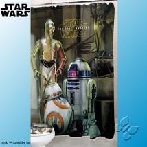 DISNEY STAR WARS The Force Awakens R2D2 C3PO Shower Curtain Bath Bathroo... - $44.50