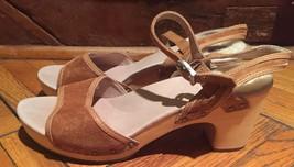 NEW Ugg wooden clog sandal tan 9 sheepskin trim - $88.11