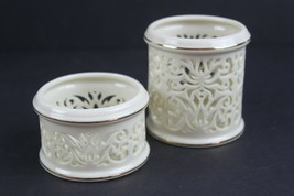 Lenox Pierced China Tealight Votive Candle Holder Large & Small Set of 2... - $24.37