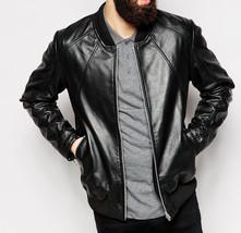 Men Black Bomber Lambskin Leather Jacket Coat For Men - $150.00