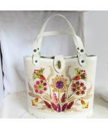 1960s Vintage Multi-Color Jeweled Sequined Bucket Purse Handbag Tote Woo... - $22.49