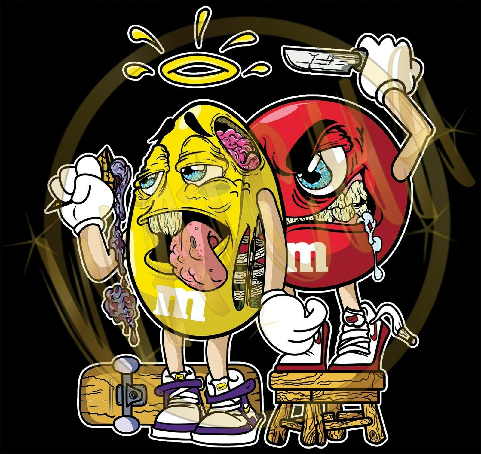 Primary image for M&M's Good Yellow and Evil Red M&M's Characters Image Men's T-Shirts