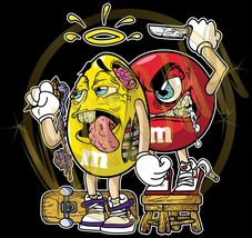 M&M's Good Yellow and Evil Red M&M's Characters Image Men's T-Shirts - $20.78+