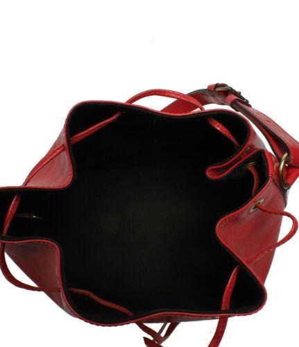 Auth Louis Vuitton EPI Shoulder Bag Red Leather PVC Noe Drawstring Logo LVB0609