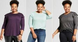 Women's Ava & Viv Plus Size Ruffle Shoulder T-Shirt Multiple Colors And ... - $4.25