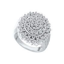 10kt White Gold Womens Round Diamond Concentric Circle Cluster Ring 1.00... - £372.20 GBP