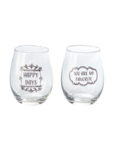 "Home Essentials 2-Piece ""You are My Favorite"" 15 Ounce Stemless Wine Glass Set - $15.00"