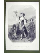 FALCONER LADY Costume England Dog Hounds - SUPERB Quality Print Engraving - $22.95