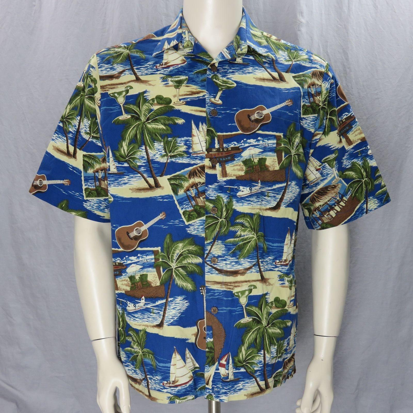 e382af89 Joe Kealohas Reyn Spooner Hawaiian Shirt Medium Sun Surf Sand Matching  Pocket