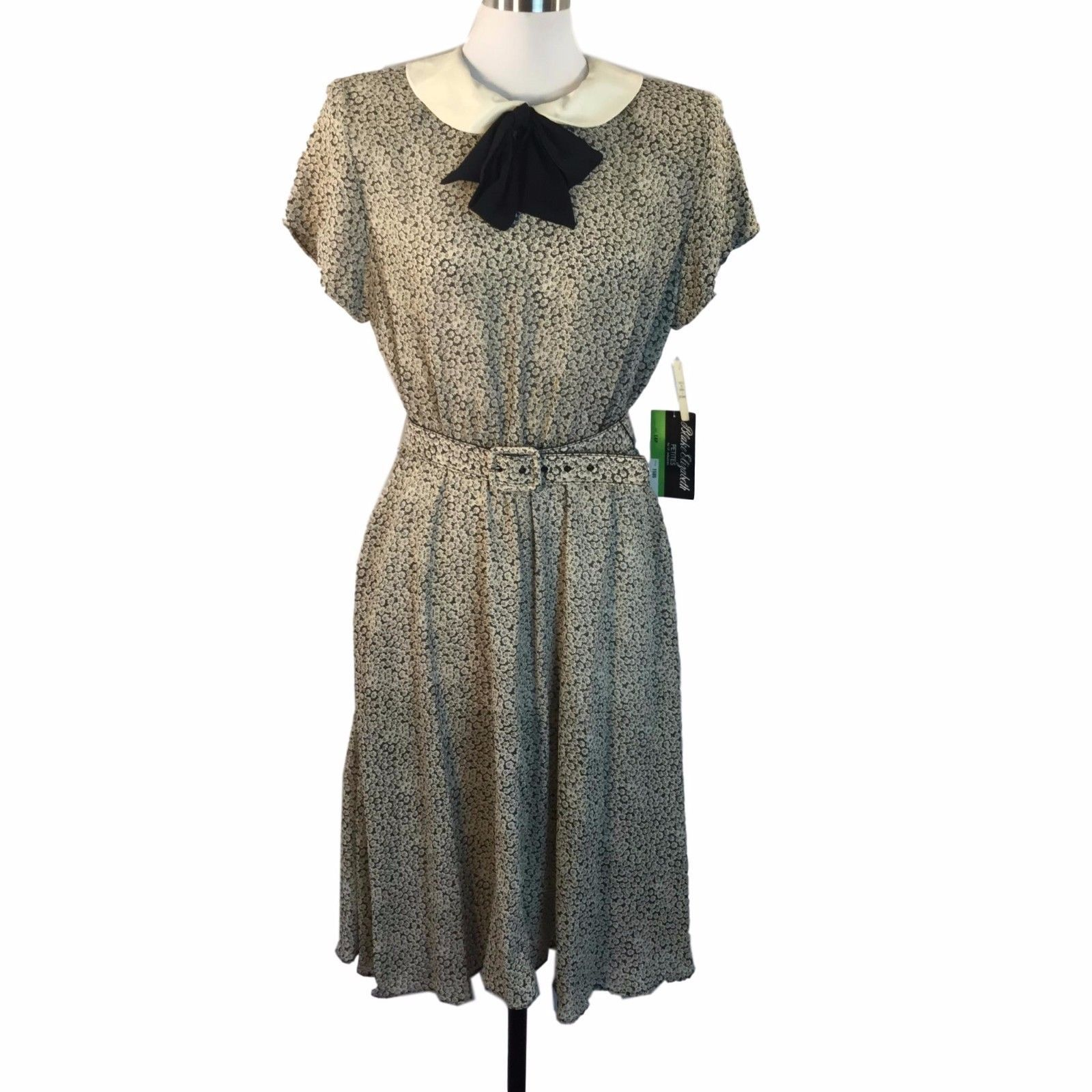 Vtg Fem Black White Floral Peter Pan Collar Dress Wed Adams Goth Office 14P