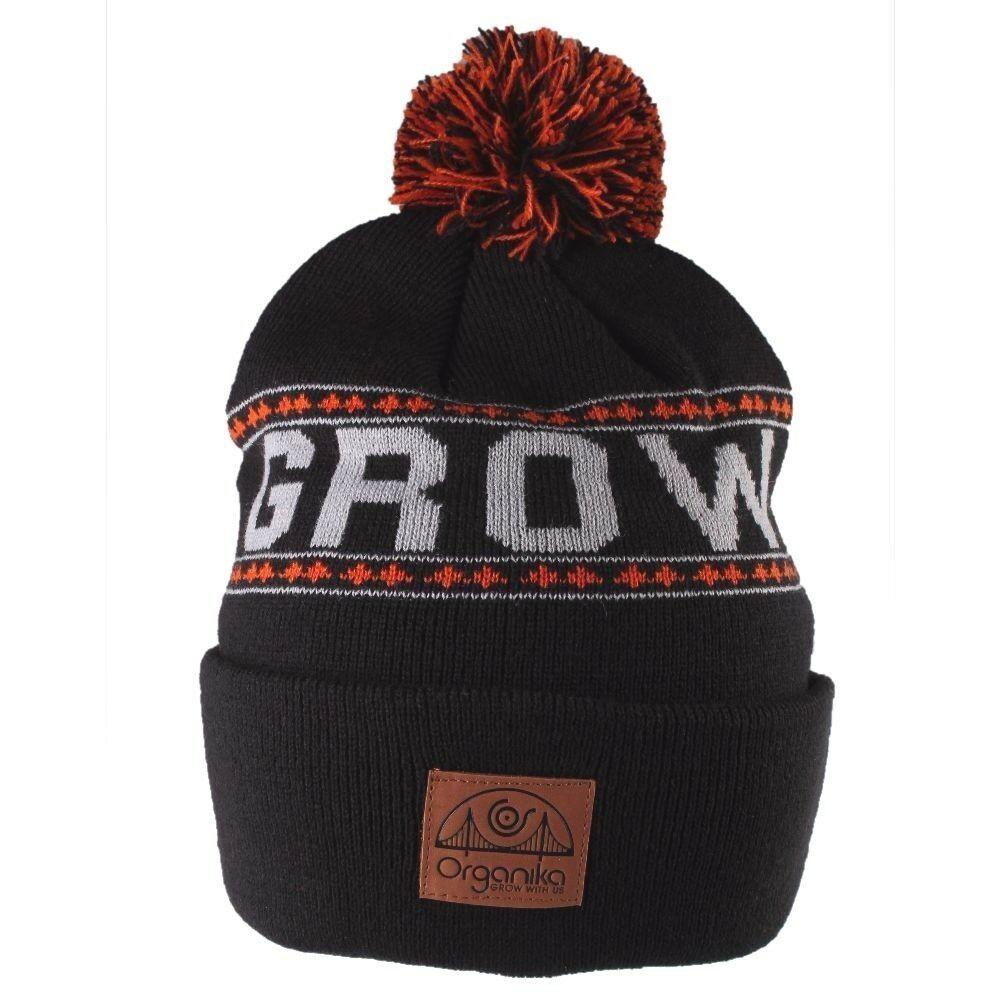 Organika Grow with Us Head Up Black Grey Orange Pom Knit Beanie Skull Cap Hat