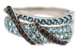 925 Sterling Silver London Blue Topaz with Smoky Quartz Ring image 2