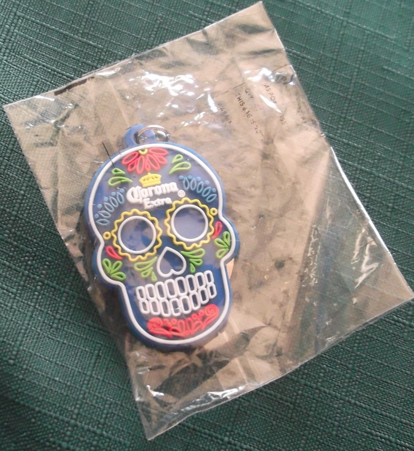 Primary image for   Corona Extra SUGER SKULL DAY OF THE DEAD Blue KEYCHAIN  NIP