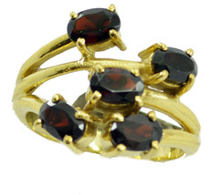 captivating Garnet Gold Plated Red Ring genuine jewelry US gift - $20.99