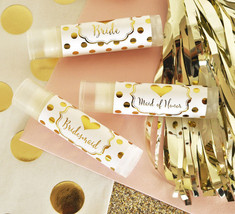 12 Gold Foil Vanilla Lip Balm Bridal Wedding Party Favor Gifts - $47.45