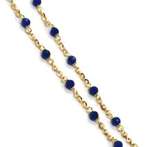 18K YELLOW GOLD NECKLACE, BLUE FACETED CUBIC ZIRCONIA, ROLO CHAIN, 17.7 INCHES image 2