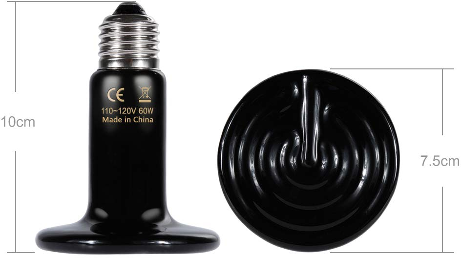 Zacro 60w Reptile Heat Lamp With One Digital Thermometer Infrared Ceramic Heati Lamps