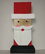 New Handcrafted Folk Art Santa Figure, Crafted from reclaimed wood - $15.77