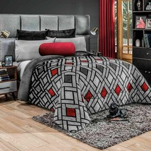 Trent Gray Striped XL Sizes Flannel Extra Soft Blanket in Thick Soft Wadding - $89.05+