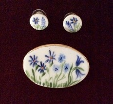 Handmade and Signed Forget-Me-Not Pin and Earring Set - 1980s - $20.00