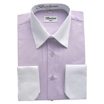 NEW BERLIONI ITALY MEN'S PREMIUM WHITE COLLAR & CUFFS TWO TONE DRESS SHIRT LILAC
