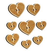 Broken Heart Love Wood Buttons for Sewing Knitting Crochet DIY Craft - Medium 1. - $9.99