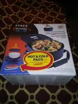 Pyrex Portables 5 Piece Hot & Cold Pac 4.5Qt Bowl w/ Lid Food Carry Case Blue  - $59.39