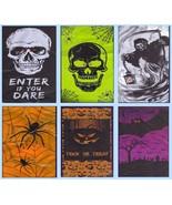 Lighted Door Wall Cover Halloween Mural Skull Bat Spider Grim Reaper Pum... - $5.49