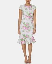 Betsey Johnson Petite Floral-Print Sheath Midi Dress Pink/White Size 8P $118 - $33.24