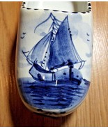 Vintage Blue Delft SAILBOAT Shoe Clog Ashtray Hand Painted Holland 411 P... - $13.86