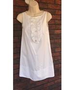 Zara Basic Cotton White Shift Dress Size Med Classic Elegance Ruffles Bu... - $32.59