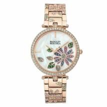 Badgley Mischka Rose Gold Tone Swarovski Crystal Flower Womens Watch BA/1388MPRG