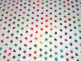 Paw Prints Rainbow Tie Dye Fabric Hair Scrunchie Scrunchies by Sherry  - $6.99
