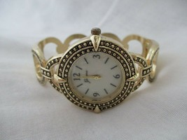 Geneva Women's Gold Toned STYLISH Cuff Band Wristwatch - $29.00