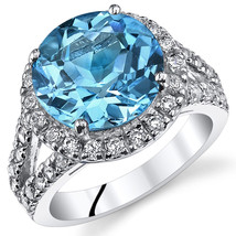 Women's Sterling Silver Round Halo Swiss Blue Topaz Cocktail Ring - $199.99