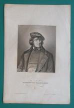 HEINRICH von FALLERSLEBEN - German Poet - 1840s Portrait Print - $13.50