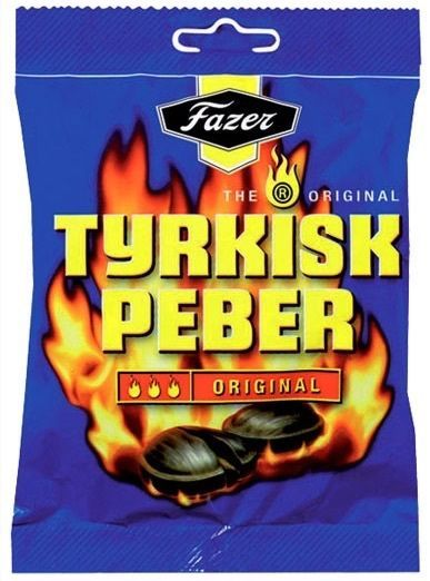 Primary image for TYRKISK PEBER (Turkish Pepper) candy x 24 bags 150g FAZER Finland *BEST VALUE
