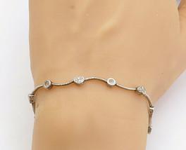 925 Sterling Silver - Vintage Petite Topaz Love Heart Link Chain Bracele... - $25.31