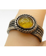 925 Silver - Vintage Smooth Amber Twist Detail Cocktail Ring Sz 6.5 - R7122 - $48.97