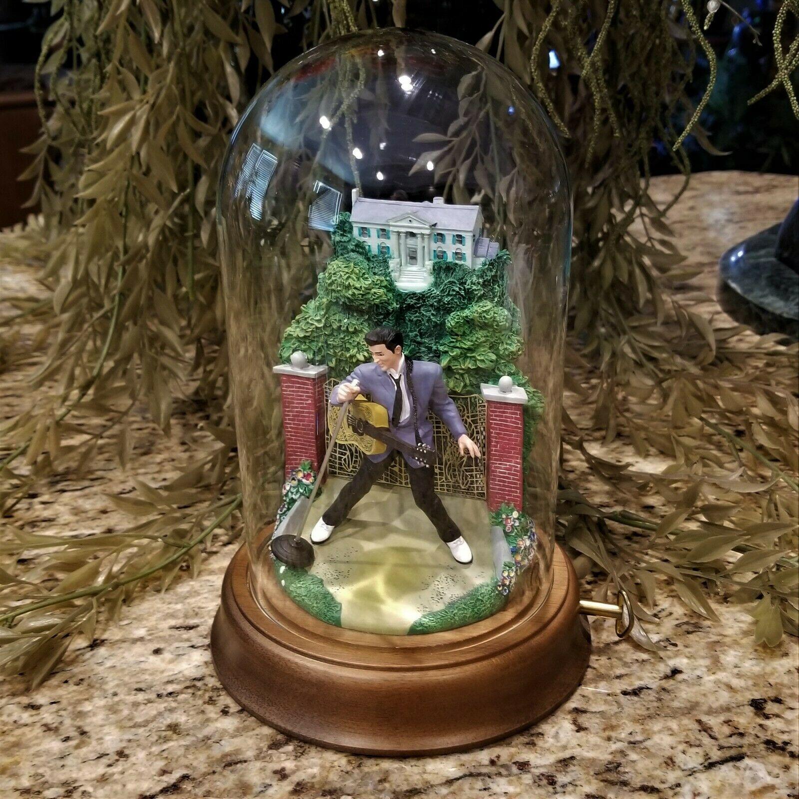 Franklin Mint Elvis Presley Graceland Love Me Tender Music Box Glass Dome Figure