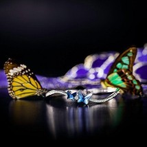 Bangle Bracelet Blue Swarovski Crystal Butterfly Design Best Mothers Day... - $42.50