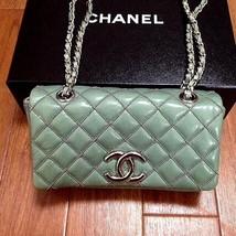 CHANEL Authentic Mini Matelasse Mint Green Flap Silver Chain shoulder Ba... - $1,896.84