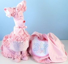 Puppy Diaper Cake Surprise Baby Girl Gift - $148.00