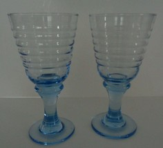 Libbey Blue Water Glasses Goblets Wine Sirrus Rock Sharpe Rings  - $18.26